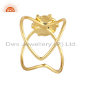Blue Topaz Gemstone Designer Gold Plated 925 Silver Girls Rings