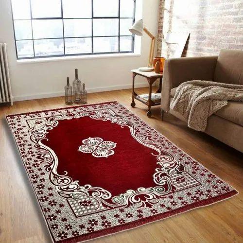 Printed Rectangular Designer Chenille Carpet, for Room Decor