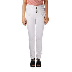 Ladies White High Waisted Jeans
