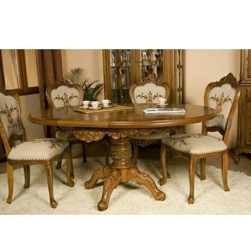 Royal Round Wooden Dining Table Set For Home Royal Carving Furniture Id 20661396548