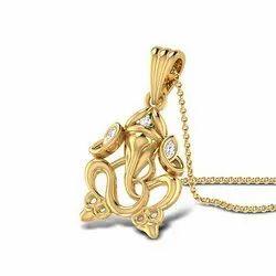 God Ganesha Gold Diamond Pendant