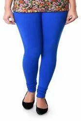 Lycra Blended Plain Jumbo Size Ink Blue Churidar Leggings, Size: L & XL