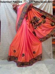 Saries - Half Pattu Silk Sari With Kalamkari Applique Work