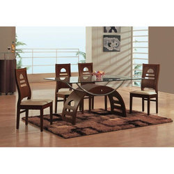 Wooden and Glass Brown Dining Table Set