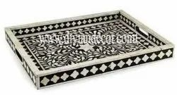 Foliage Pattern Bone Inlay Serving Tray(Authentic & High Quality)