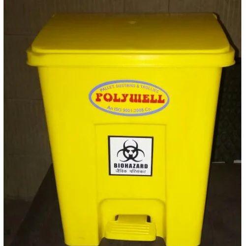 Polywell Yellow & Black Hospital Waste Bins, Usage: Hospital, Clinic