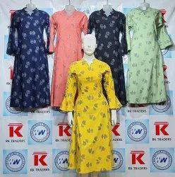 Casual Wear 3/4th Sleeves Girls Designer Printed Long Dress