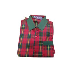Cotton School Red Green Checked Shirt