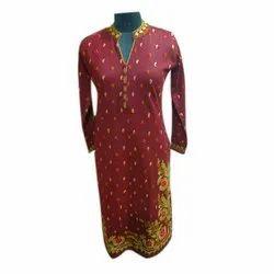 Acrylic Daffodil Yarn Casual Wear Ladies Designer Full Sleeve Kurti, Size: M-3XL
