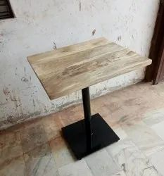 Black Single Stand Iron Mango Wood Cafeteria Dining Table, Seating Capacity: 2 Seaters, Size: W27xd20xh30 Inch