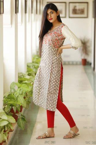 S Xxl Casual Wear Formal Wear Dazzling Printed Cotton Kurti Rs
