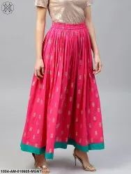 Cotton Maxi Nayo Magenta Printed Flared Ankle Length Skirt, Size: S-XXL