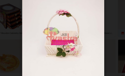 Pink Square Wooden Designer Chocolate Dry-Fruits Fruits Basket