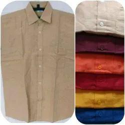Latest Khadi Cotton Men Plain Half Sleeve Shirt, Machine wash