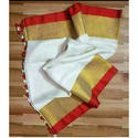 Ladies White Linen Party Wear Saree, Length: 6.5 M