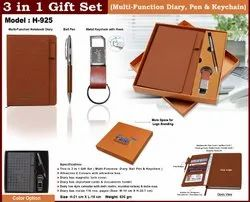 Pu Leather Brown,Black 3 in 1 Gift Set H-925, Packaging Type: Cardboard Box, Size: 21 X 15 Cm