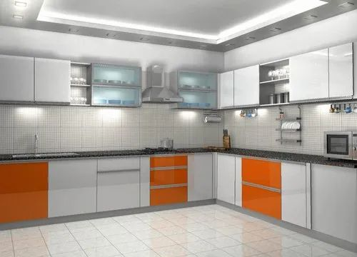 Commercial L Shape L -Shaped Modular Kitchen, Warranty: 1 ...