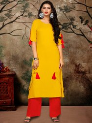 Ladies Yellow Rayon Kurti