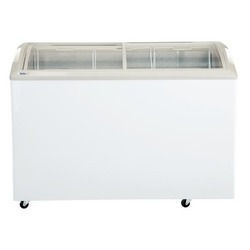 White Haier Metal Liner 400 Ltrs Curved Glass Top Freezer HCF-400GHCM, 1130 Kwh/Yr