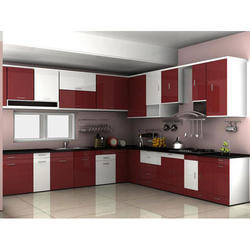 Red Crystal Modular Kitchen