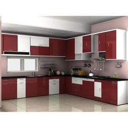 Red Crystal Modular Kitchen