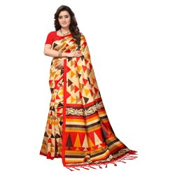 Beige Colored Poly Silk Casual Wear Saree