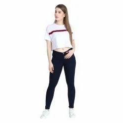 Black Regular ZXN Clothing Women Premium Stretchable Slim Fit Navy Blue Denim Jeans