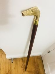 Brass Handle Walking Wooden Stick Handmade Art
