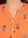 Women's Rayon Printed Orange Kurta