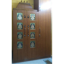 Brown Teak Wooden Pooja Cupboard Designing