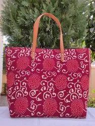 Printed Cotton Tote Shoulder Bag