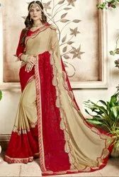 Beige and Cherry Red Embroidered Partywear Saree
