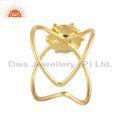Natural Labradorite Gemstone Designer 925 Silver Gold Plated Rings