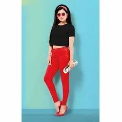 Plain Red Ladies Lycra Legging, Size: M-XXL, Packaging Type: Packet