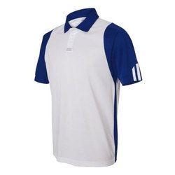 Blue And White Cotton Men Polo Collar T-Shirt