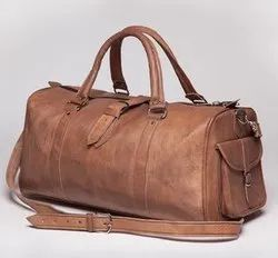Leather Tan Duffle Bag, Size: 24