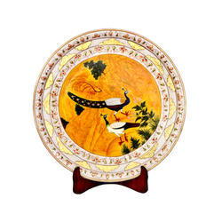 Decorative Marble Plate With Peacock Print
