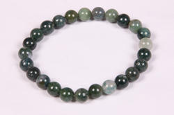 Moss Agate Beaded Rubber Bracelet