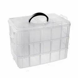 30 Grid 3 Tier Customizable Partitions Transparent Multipurpose Storage Box