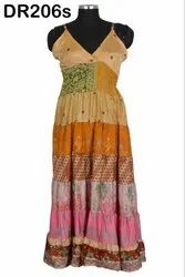 Vintage Recycled Silk Sari Long Women's Spaghetti Dress DR206s