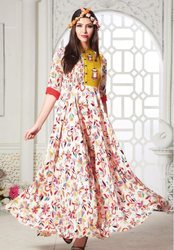 Indian Ethnic Designer Muslin Cotton Light Pink Printed Gown, Size: XL
