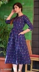 Blue Printed Short Anarkali Kurtis