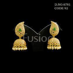 Polki Stone Studded Jhumka Earrings