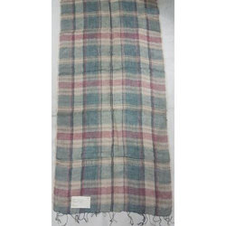 Linen Yarn Dyed Check Stole