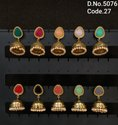 Antique Stone Studded Mehendi Polish Jhumka Earrings