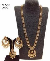 Polki Long Reverse AD Necklace Set A1 7061, A1 7012
