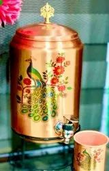 Printed Peacock Design Copper Water Dispenser, Capacity: 5 To 10 Litres
