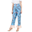 Pleated Pants Cotton Western Floral Print Ladies Pants