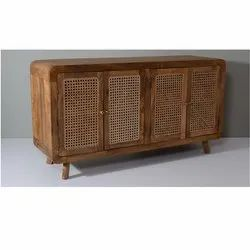 Contemporary Wooden Cane Storage Sideboard Cabinet