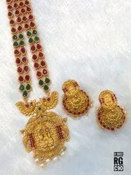 South Indian Style Kemp Jewellery Set - 5022